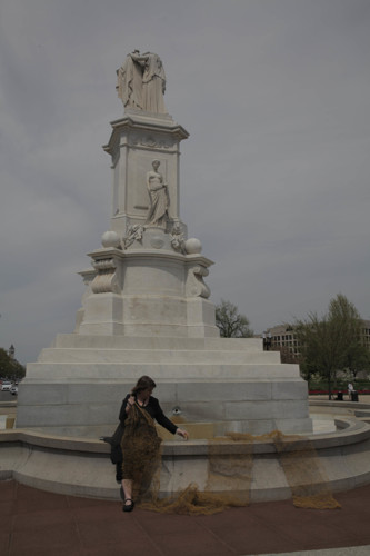 The Trip Wire Project-Knitting at the Civil War Naval Peace Monument, Washington, DC