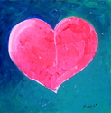 Pink Heart Painting w Blue Background- Mended Heart  9-06
