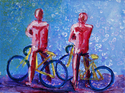 Figurative Painting - Bikers - pink w/ blue background