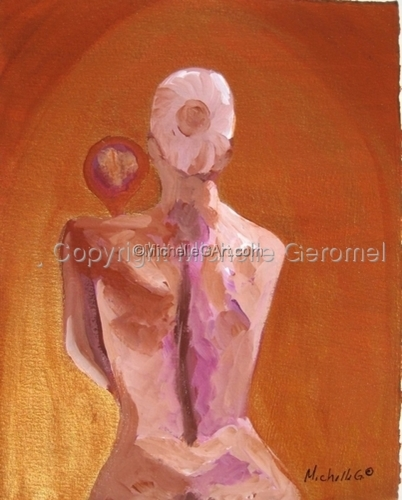 Golden Girl Primping, Tasteful Nude, Female Figure Art