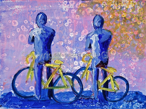 Bikers - blue w/ pink background