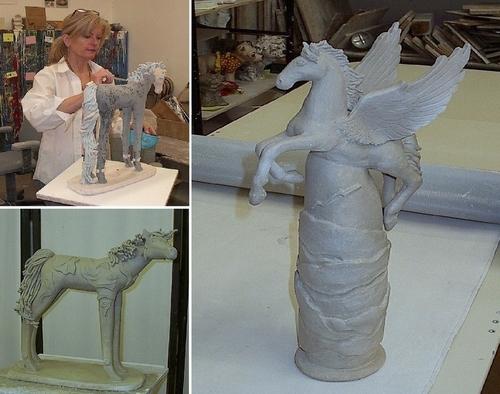 Michelle sculpting a horse