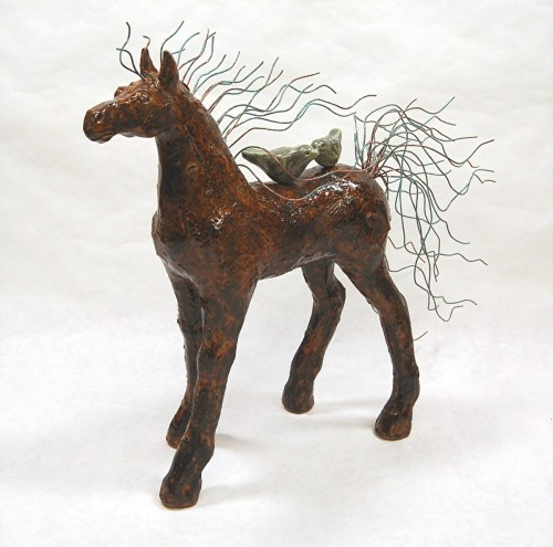 Shelter Horse 4 with Birds 12 inch