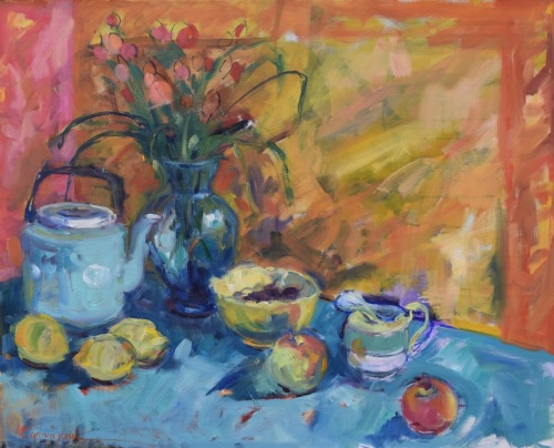 Arrangement in Yellow and Turquoise by Mickey Cunningham