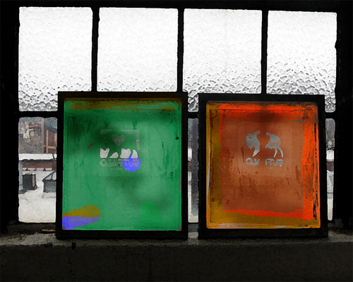 Two Silkscreens in the Window by LOCAL COLOR EDITIONS  .  FEATURING THE ART AND DESIGN OF MICHAEL MORGULIS