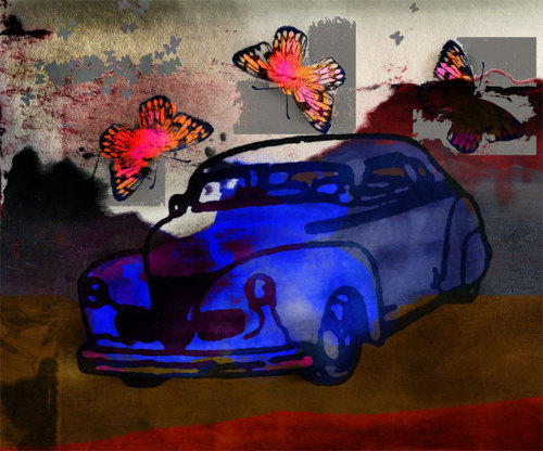 Blue Chrysler with Butterflies (large view)