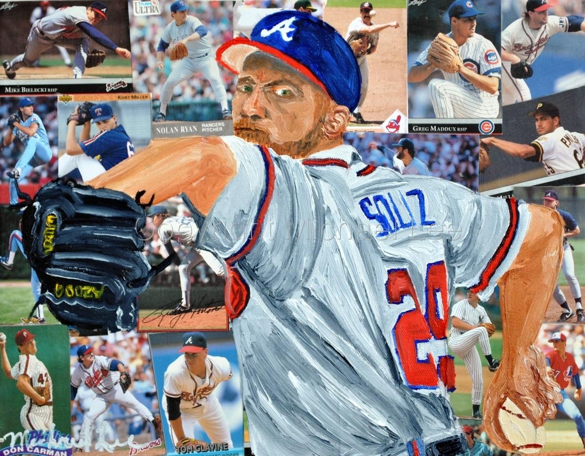 mixed media of baseball player John Smoltz (large view)