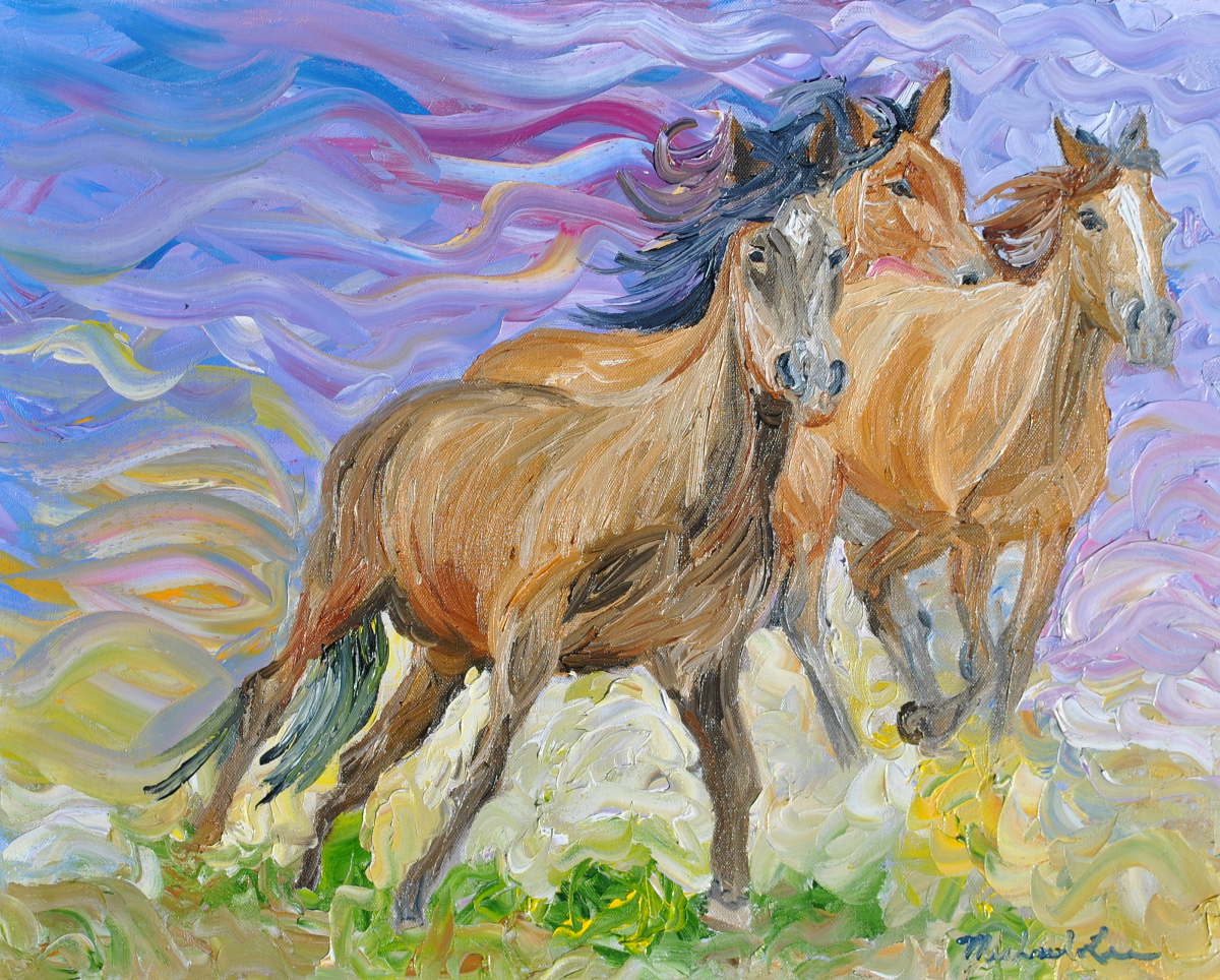 Oil painting of horses, wild horses, horses running (large view)