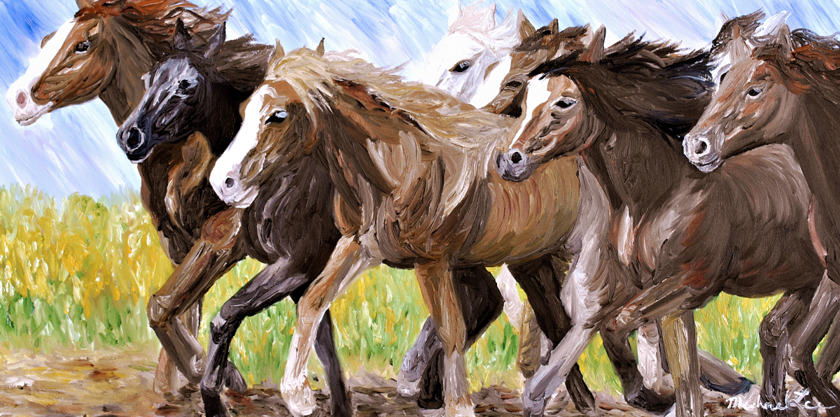 Horses, Horse, Horses galloping, Horses running, Wild Horses, Stallions, Mustangs, Wild Mustangs.  (large view)
