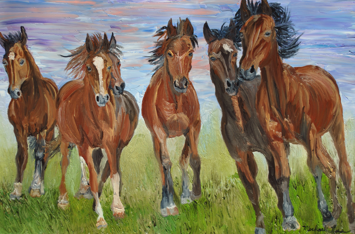 Horses, Wild Horses, Oil Painting, Stallons, Mustangs, Equestrian, Ponys, Ponies, horse. (large view)