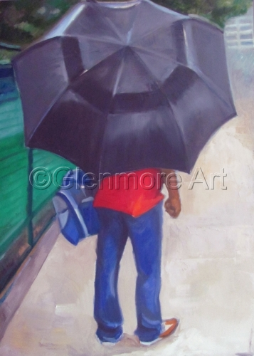 Man With Big Umbrella