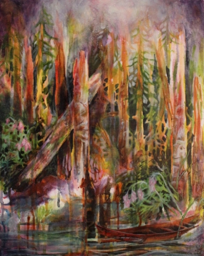 old growth forest, west coast art, west coast artist, miel creasey, mixed media painting, acrylic on canvas, british columbia painter, landscape painting, landscape, canadian landscape painting, photo transfer, miel creasey fine art (large view)