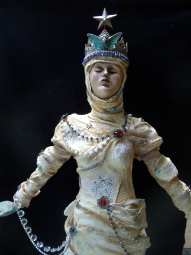 Warming the Ice Queen front view by Michele Fisher Ceramics and Mixed Media