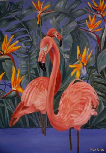 Birds of paradise flamingos