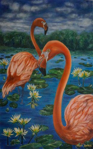 Waterlily flamingos