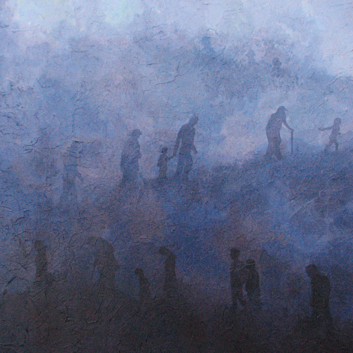 Acrylic painting representing people walking up a hill led by a child, suggesting a mass exodus. (large view)