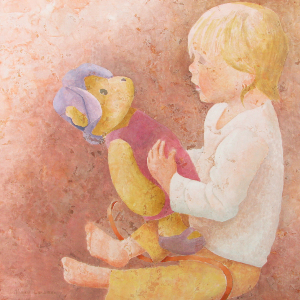 Mixed media painting of a child looking at a newly unwrapped teddy bear. (large view)
