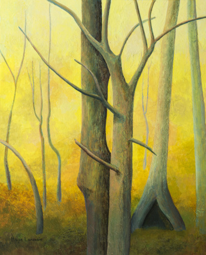Bare tree trunks against a yellow background (large view)