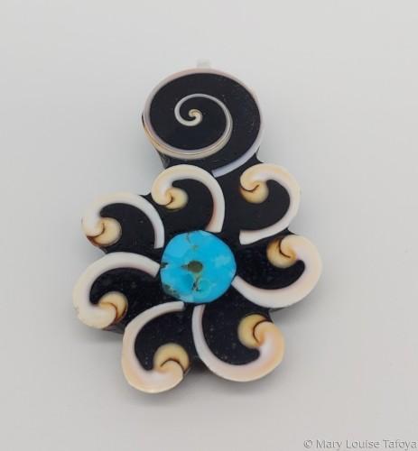 P015 Swirl Flower Pendant by Mary Louise Tafoya
