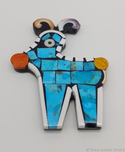 P016 Whimsical Reindeer Pin  by Mary Louise Tafoya