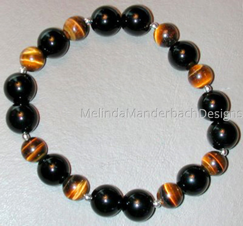 Elastic Bracelet with Tigers Eye, Onyx and Sterling Beads