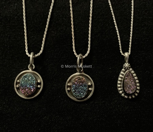 Druzy Pendants  by Morris Muskett Dine' (Navajo) Weaver & Jeweler