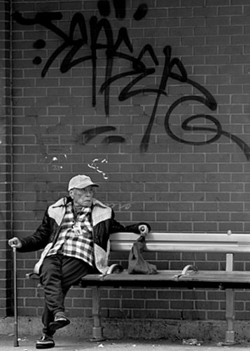Old man and grafity