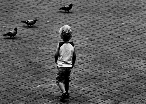 Boy with pigeons