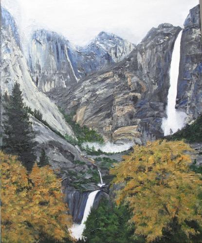Yosemite Falls in Fog