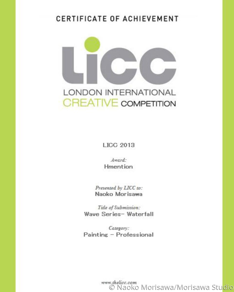 licc certificate of achievement original art by morisawa art studio
