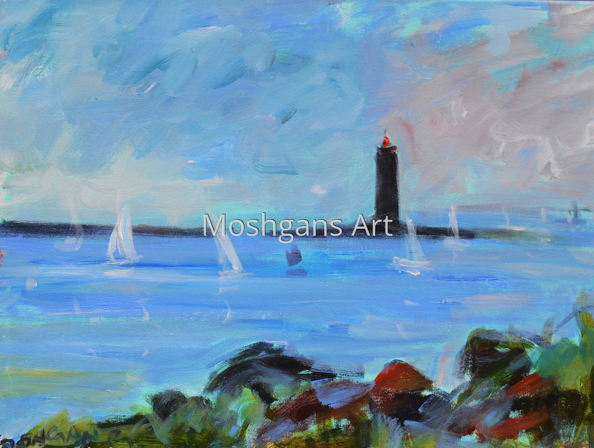 Light house and white sails, Maine (large view)