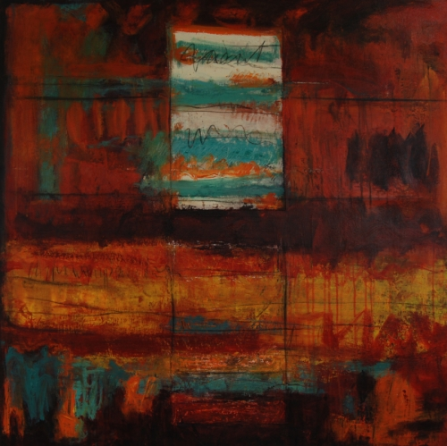 Door to the Desert is a contemporary acrylic painting on canvas by M. Pia De Girolamo. In reds & yellows w turquoise accents  it calls to mind the colors of the southwest. A door shape floats at the top of the painting &  suggests the opening of the mind. (large view)