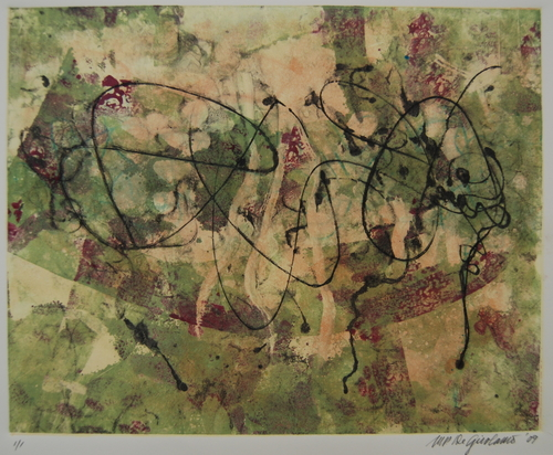 Vineyard monoprint by M. Pia De Girolamo (large view)