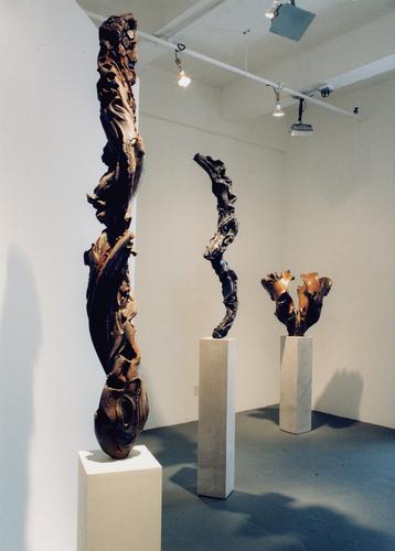 installation view of pedestal sculptures