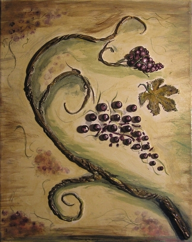 Painting--Acrylic-Still LifeGrapes of Abundance (left panel)