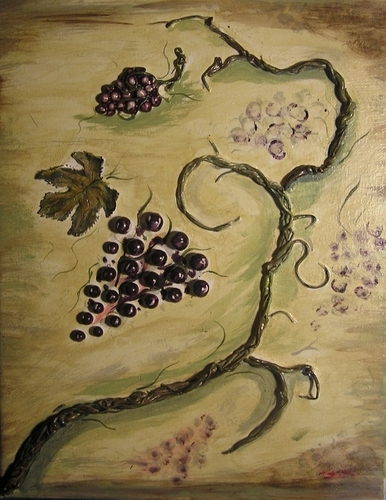 Painting--Acrylic-Still LifeGrapes of Abundance (right panel)