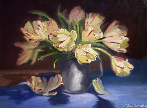 Parrot Tulips in Pewter by Max Savaiko Art