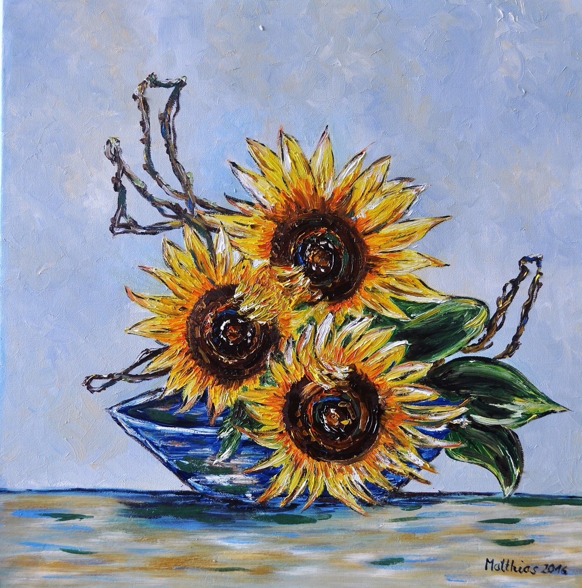 Three Sunflowers in blue Bowl  (large view)