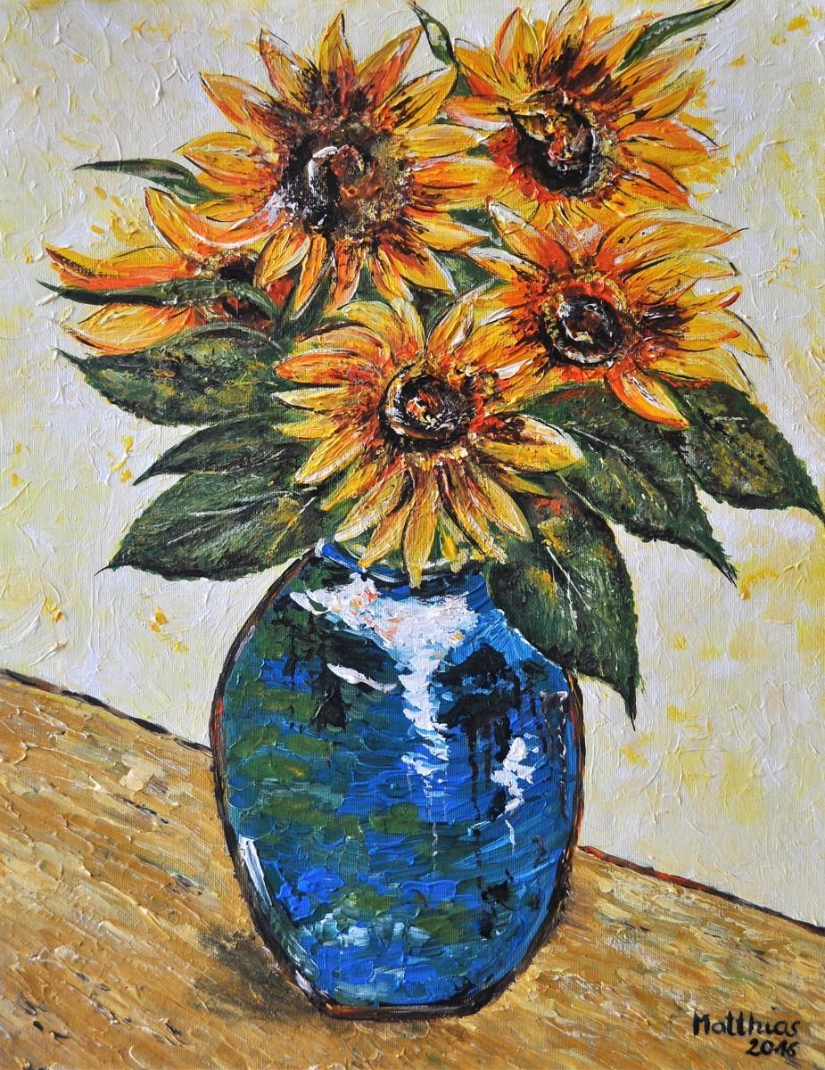 Four sunflowersin blue Vase  (large view)