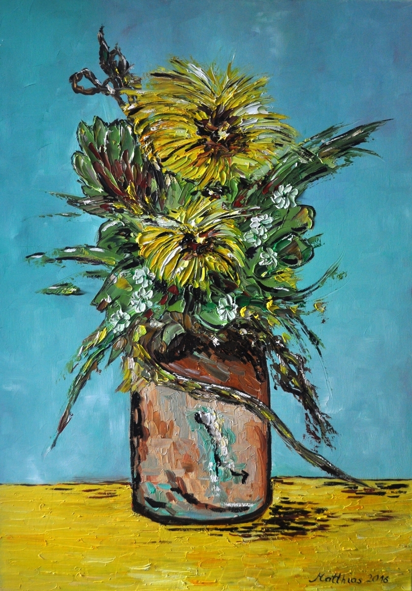 Yellow Carnations in Vase (large view)