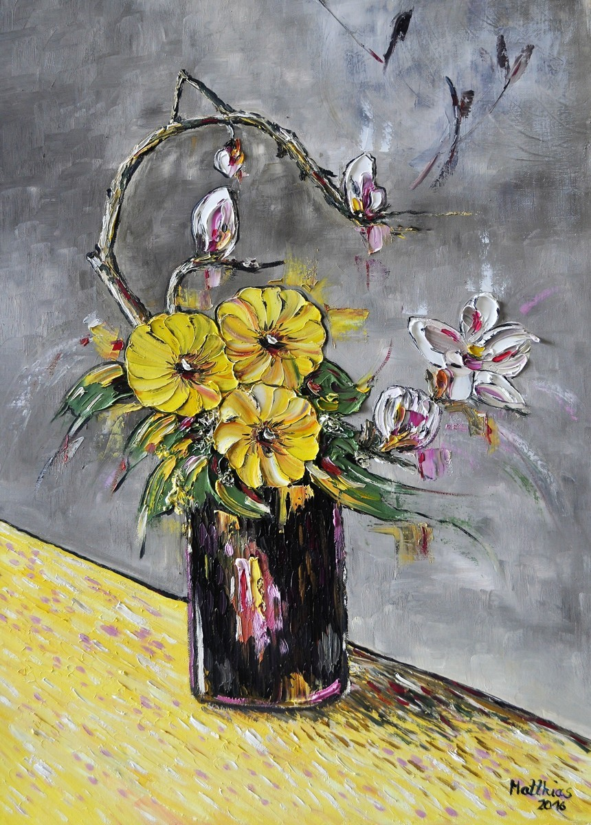 Yellow Anemones and Franchipani in Black Vase  (large view)