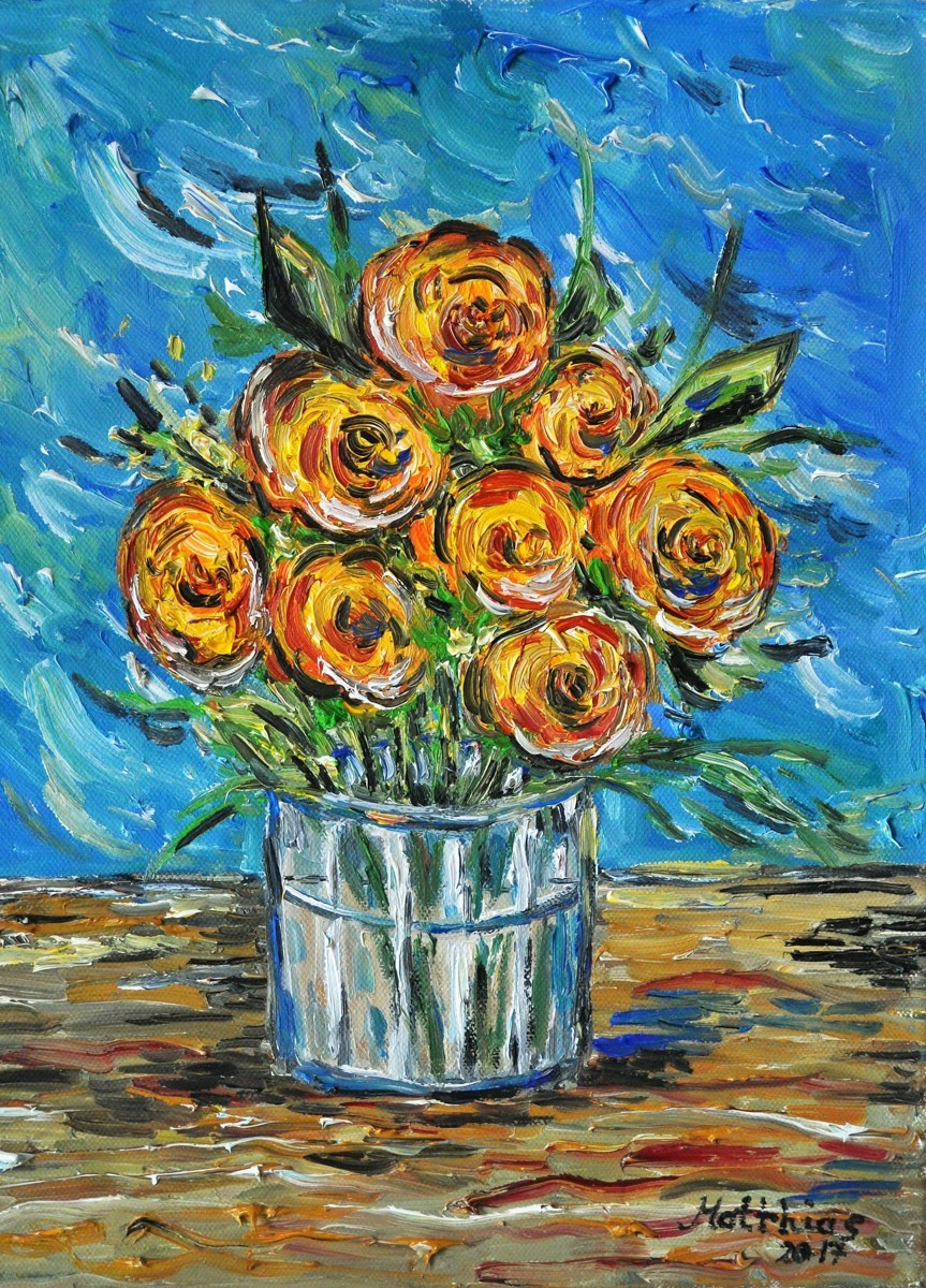 Yellow roses in water glass           (large view)