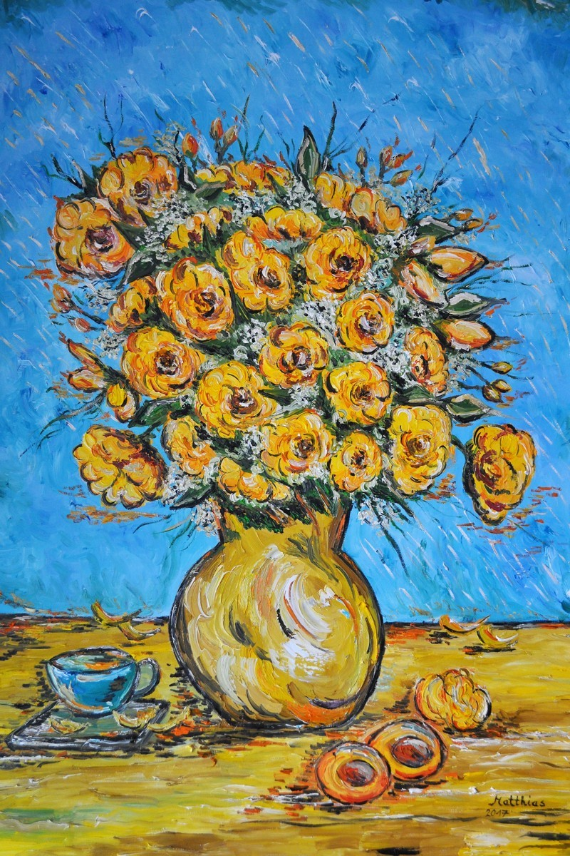 Yellow roses in vase             (large view)
