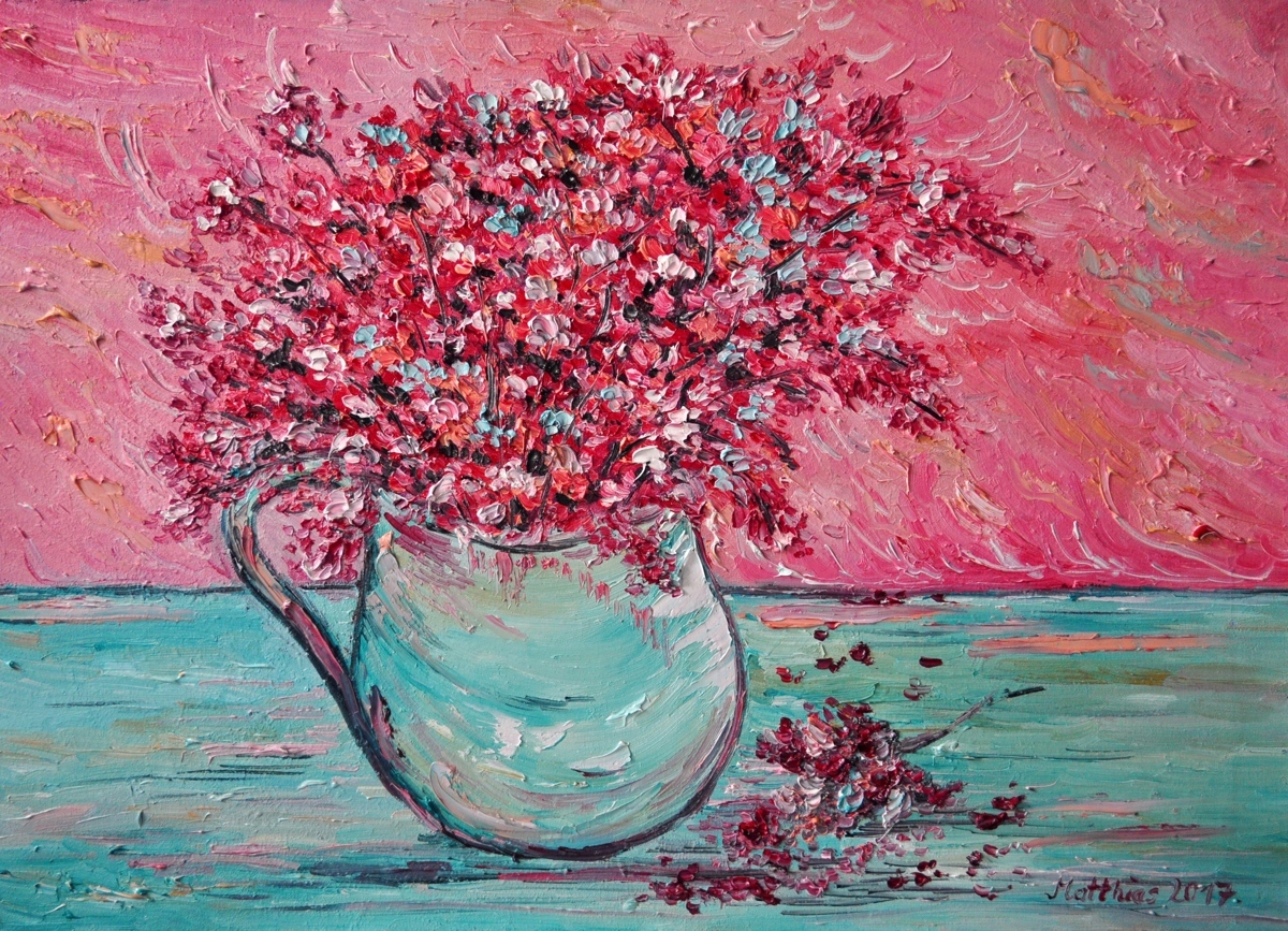Pink Flowers in Vase                 (large view)