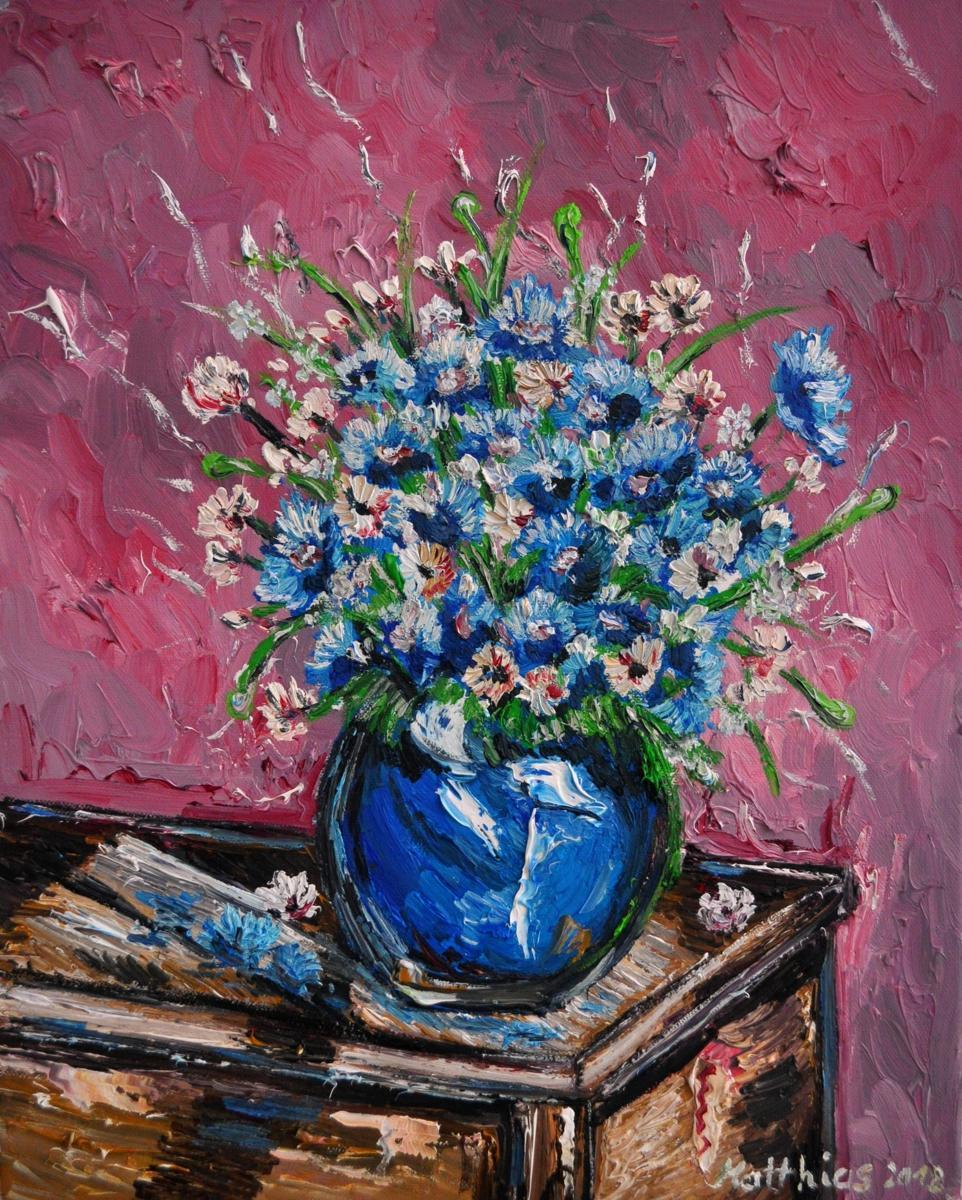 Cornflowers in blue Vase on wooden Chest                 (large view)