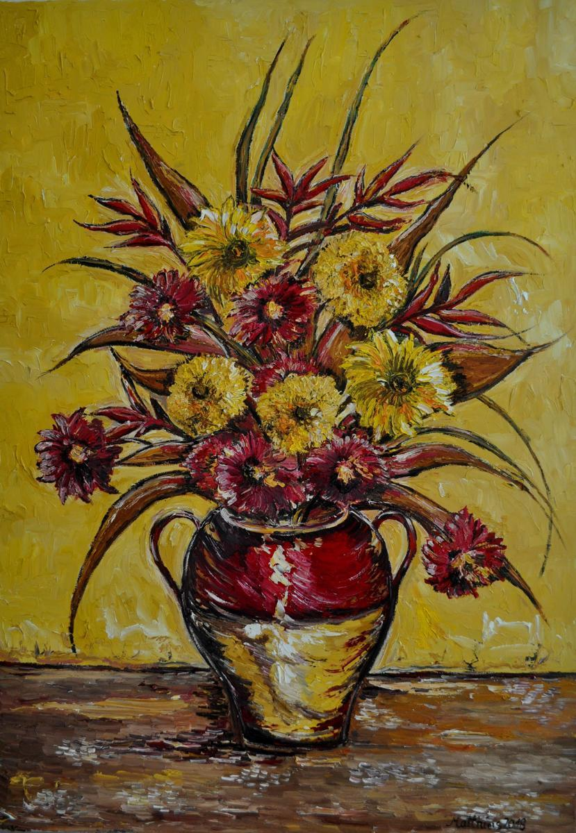 Sunflowers and Gerberas in Vase on wooden Table              (large view)