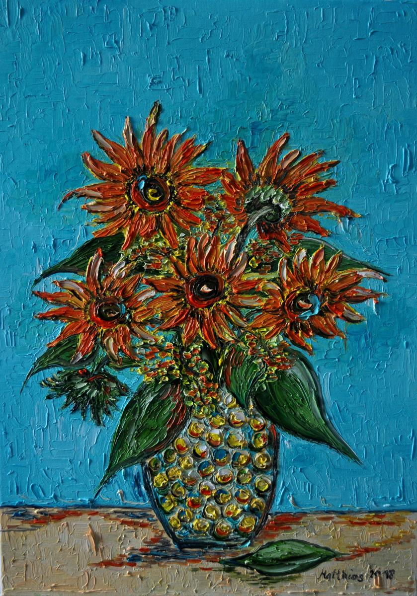 Firey Orange Sunflowers  (large view)