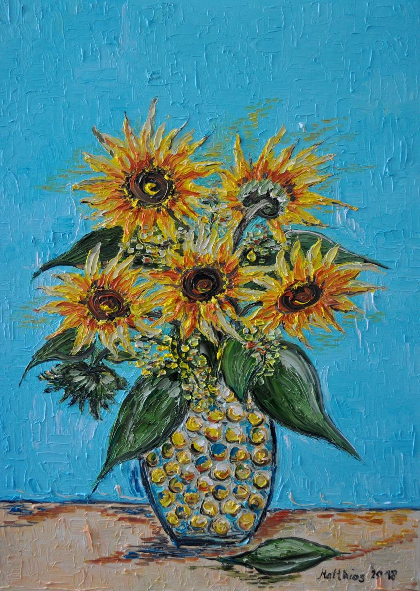 Yellow Orange Sunflowers in Vase  (large view)