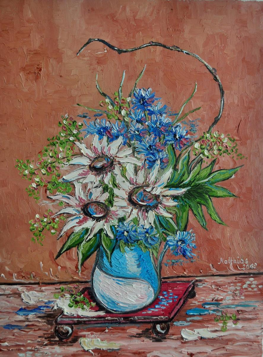 White Sunflowers in Vase  (large view)