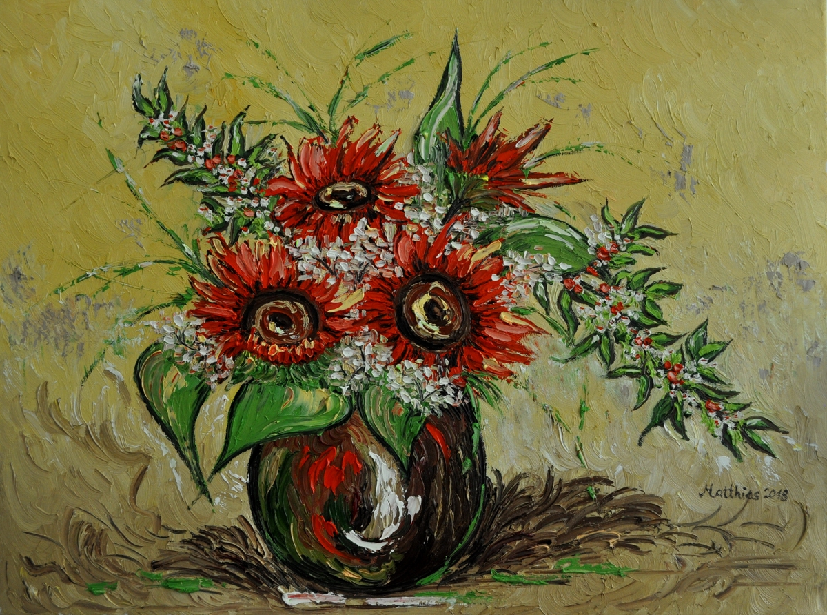Firey Red Sunflowers in Vase  (large view)
